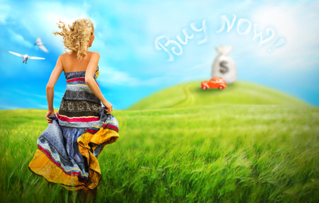 Young woman running across the field to the car on a hill. Dream to own a car comes true with credit from bank concept photo
