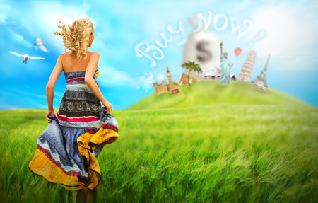 Young woman running to worlds famous buildings across he field. Travelling loan concept