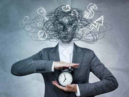 Conceptual image of business woman without head and daily routine icons instead. Artificial intelligence concept Imagens