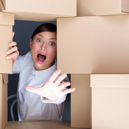 doings: Portrait of young woman surrounded by lots of boxes. Lots of work concept. Stock Photo