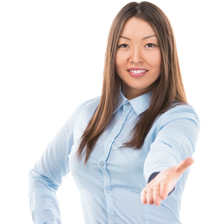 Portrait of lovely business woman offering handshake over white background photo