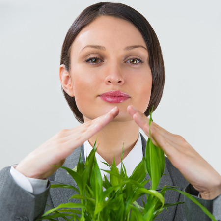 guaranty: Adult business woman taking care about her plant. Safety and confidence guaranty for young business concept