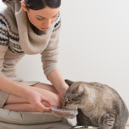 Beautiful young woman feeding her cat at home photo