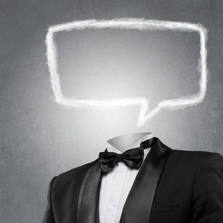 Man with empty speech bubble instead of head