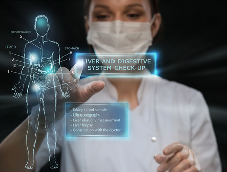 future: Female medical doctor working with virtual interface. Modern medical technologies concept