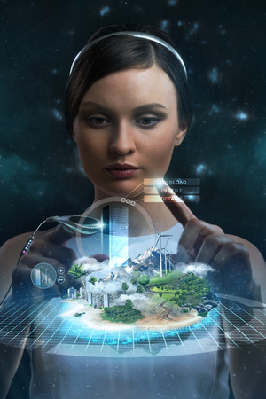 future city: Engineer working with holographic media image of city. New technologies in development and construction Stock Photo