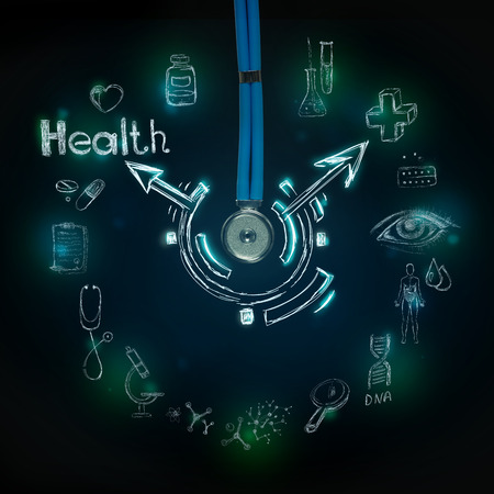Medical background with many different symbols and icons photo