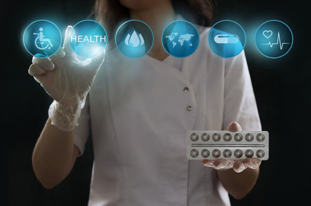 high tech device: Healthcare, medical and future technology concept - female doctor with virtual interface