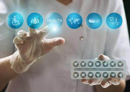 Medicine doctor working with modern computer interface as medical concept Stok Fotoğraf