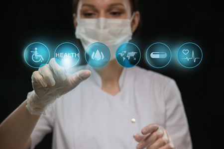 medical report: Medicine doctor working with modern computer interface as medical concept Stock Photo