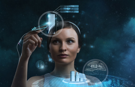 future space: Image of businesswoman of the future working with media screen