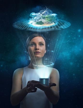Ingenieur werken holografische media imago van de stad met. Nieuwe technologieën in ontwikkeling en bouw
