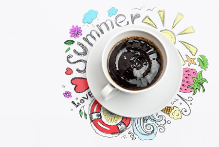 coffe break: Cup of coffee summer vacation planning concept Stock Photo
