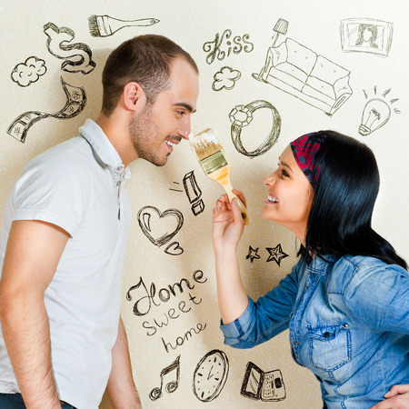 Closeup portrait of adult couple at their apartment renovating of their new apartment Stock Photo - 29939000