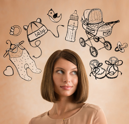 thinking woman: Young woman thinking of her pregnancy plans closeup face portrait and sketches overhead Stock Photo