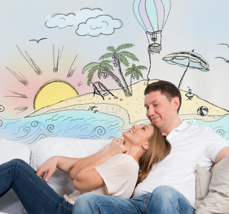 family discussion: Travel and vacation concept. Adult couple planning their summer holidays and vacation Stock Photo