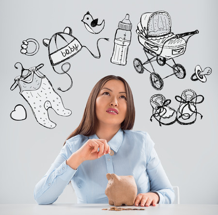 adult baby: Young business woman thinking of her pregnancy plans closeup face portrait and sketches overhead