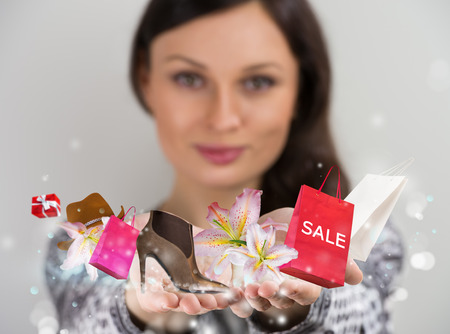 shopping lady: Woman shopping online using her virtual interface