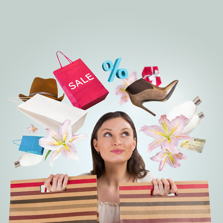 Woman shopping concept. Collage with different shopping symbols around girl