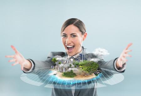 Betere wereld project concept, Bedrijfs vrouw die haar ideale stad project Stockfoto