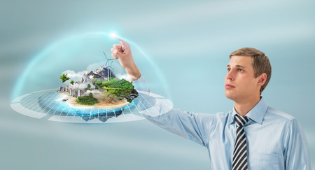 human energy: Better world project concept. Business man presenting his better world project Stock Photo