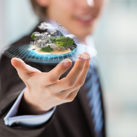 micro climate: Better world project concept. Business man presenting his better world project Stock Photo