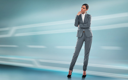 full length portrait: Business woman full length portrait on technological background with copyspace