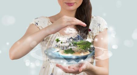 paz mundo: Concepto del seguro. Guarde su mundo perfecto Foto de archivo