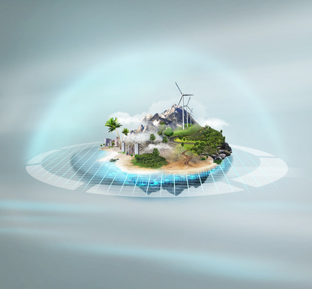 Better world project concept. Idyllic island on technological background