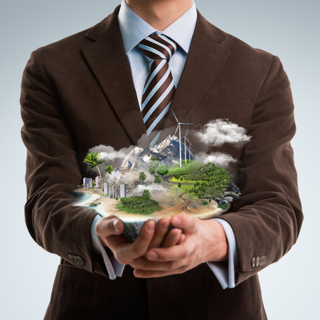 cad drawing: Better world project concept. Business man presenting his better world project Stock Photo