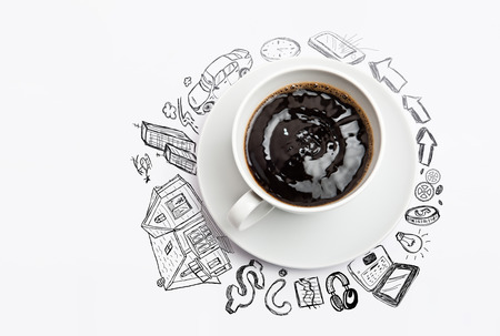 car bills: Cup of coffee planning concept Stock Photo
