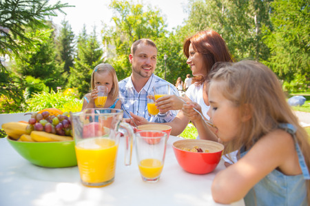 Family eating together outdoors at summer park or backyard 写真素材