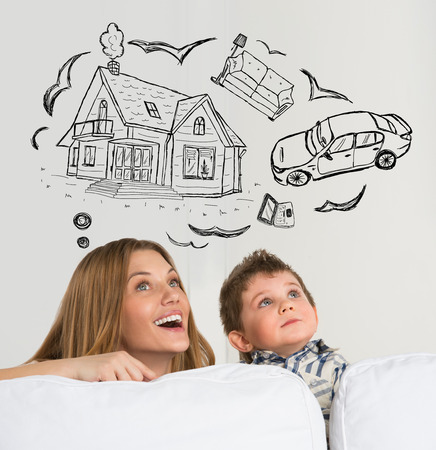 Mortgage and credit concept. Family of mother and her child dreaming about future