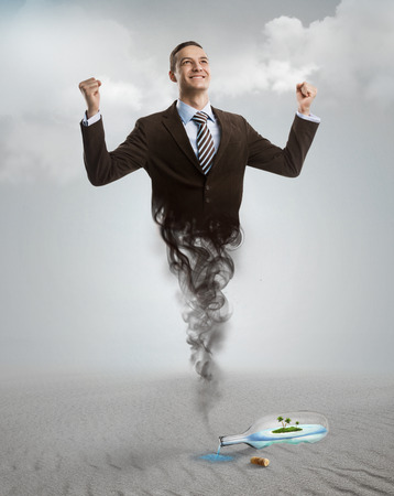 genie in a bottle: Genie business man appearing from the magic lamp or bottle. Help, assistance urgent solution concept
