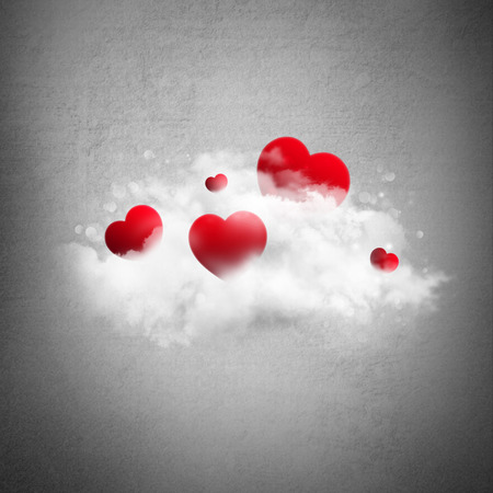 Red hearts in cloud. Valentines day background photo