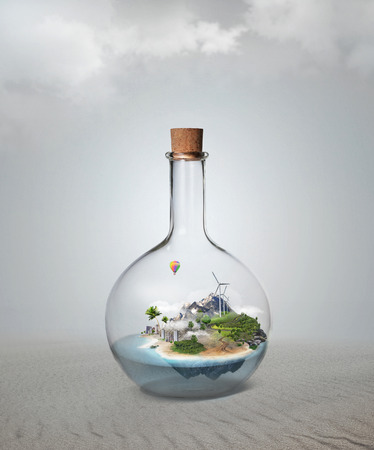 Corked glass bottle with beautiful island and sea inside. Confidence, stability, insurance concept