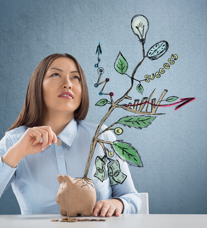 Concept of Growing company with sketch of a plant with business symbols and businesswoman putting coin in piggybank photo