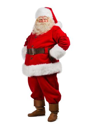 papa noel: Santa Claus de pie aislado en fondo blanco - retrato de cuerpo entero