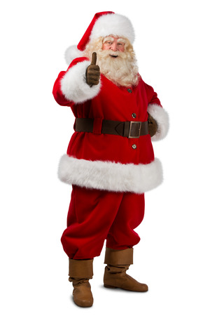 thumb up: Santa Claus standing isolated on white background and thumbs up - full length portrait