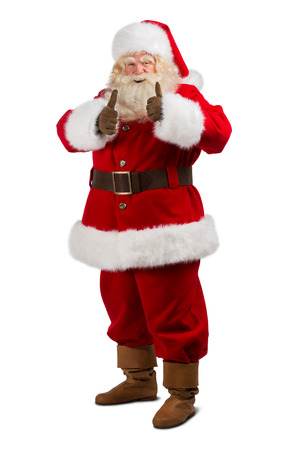 man thumbs up: Santa Claus standing isolated on white background and thumbs up - full length portrait