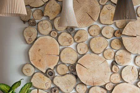 Ecological style background horizontal with lamps photo