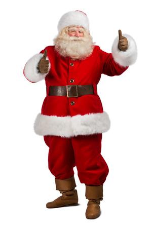 Santa Claus stehend auf weißem Hintergrund und Daumen hoch - in voller Länge Porträt Standard-Bild - 31532413