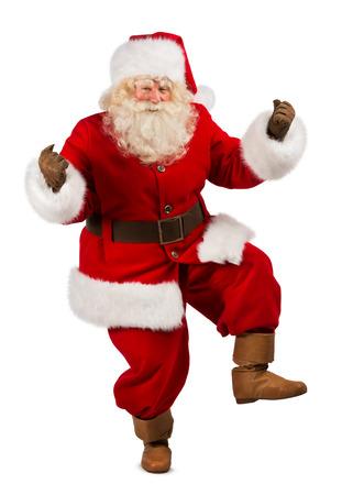 Happy Christmas Santa Claus Dancing. Geïsoleerd op witte achtergrond. Volledige lengte Stockfoto