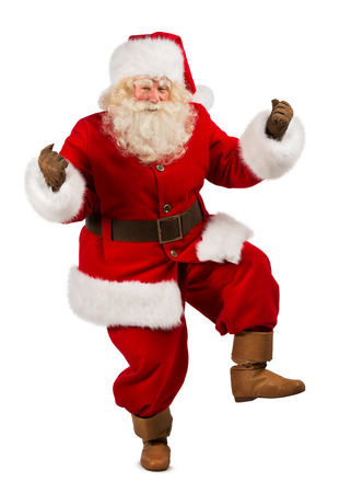 Happy Christmas Santa Claus Dancing. Isolated on white background. Full length photo