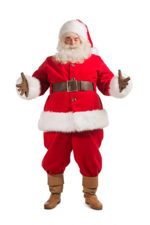 환영 제스처와 함께 행복 한 크리스마스 산타 클로스입니다. 흰색 배경에 고립. 전체 길이