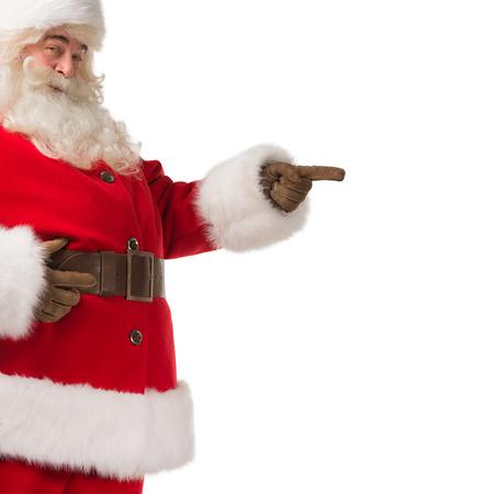 Santa Claus gebaren zijn hand geïsoleerd over witte achtergrond. Presentatie van iets