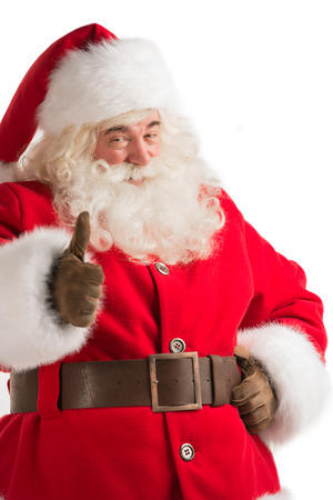 Portret van de gelukkige Kerstman op een witte achtergrond thumbs up Stockfoto