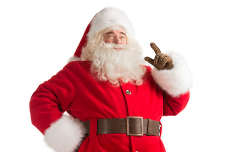 Portrait of happy Santa Claus have an idea isolated on white background. Idea gesture. Pointing up with fingertip photo
