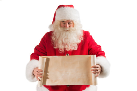 Santa Claus Holding Vintage Banner with Space for Your Text Isolated On White Background photo