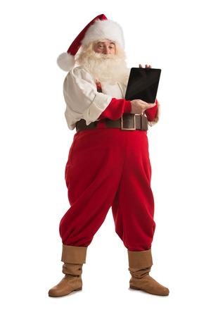 full length: Geïsoleerd Kerstman tonen van tablet-computer scherm volledige lengte portret op witte achtergrond Stockfoto